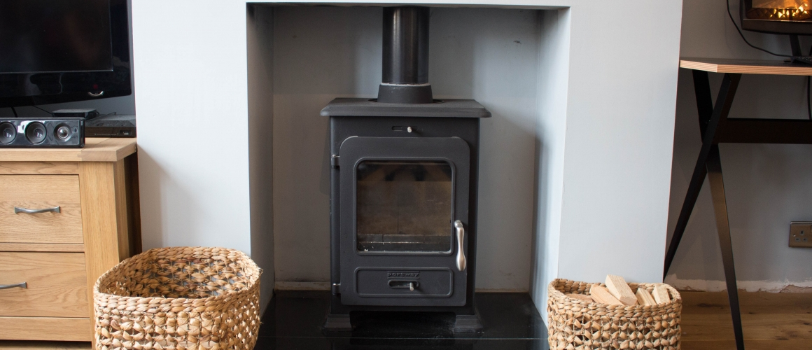 Portway 1 Contemporary Stove & Engineered Oak Flooring