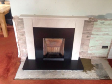 Baxi Fire with Bespoke Stone Surround & Hearth