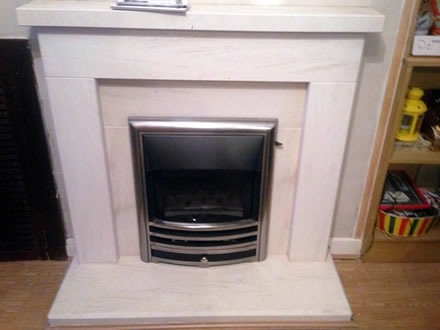 Open Fronted Gas Fire with Portugese Limestone Hearth & Surround