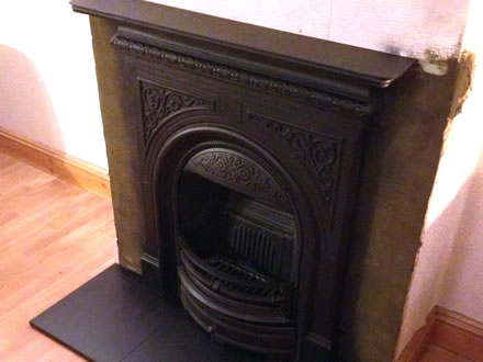 Cast Iron Multi Fuel Fire with Slate Hearth